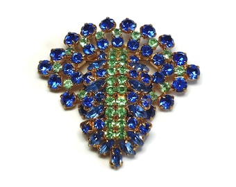 50s Gold Rhinestone Waterfall Brooch in Prong Set Blue Sapphire & Green Peridot Navette and Chaton Crystals - Vintage 50's Costume Jewelry