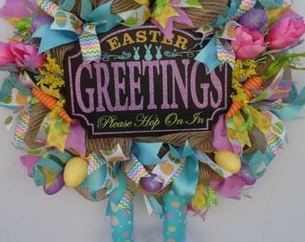 Easter Bunny Wreath, Burlap Bunny Wreath, Rustic Bunny Wreath, Country Bunny Wreath, Deco Mesh Easter, Whimsical Easter Wreath, Bunny Legs