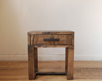 Nightstand, Short Reclaimed Wood Thin leg Side Table, End Table with Drawer- Walnut