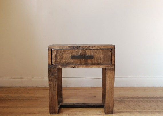 Nightstand short reclaimed wood thin leg side table end for Thin side table