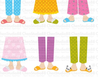 Pajama Feet Cute vector - Digital Clipart - Instant Download - EPS, PNG files included