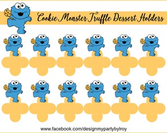 BABY COOKIE MONSTER, Cookie Monster Party Favors, Cookie Monster Party Decoration, Cookie Monster Printable,Forminhas para Docinhos,Holders.