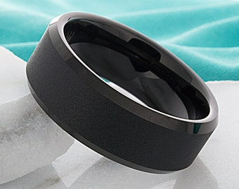 Tungsten Ring Mens Black Wedding Band Tungsten Ring Tungsten Carbide 8mm Tungsten Ring Man Wedding Band Male Women Anniversary His Hers Ring