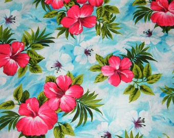 BTY TROPICAL Red & White Hibiscus on Sky Blue Floral Print 100% Cotton Quilt Craft Shirting Fabric by the Yard