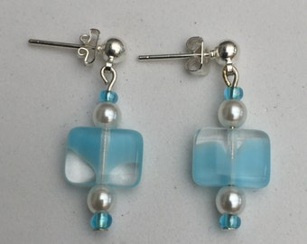Hand Crafted Blue and Cream Beaded Earrings