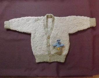 "CARDIGAN with TEDDY in the POCKET. Boys Cardigan Sweater. Fits 20"" Chest 6-12 Months. Fawn Super-Soft Sirdar Snowflake. Ultra Lightweight."