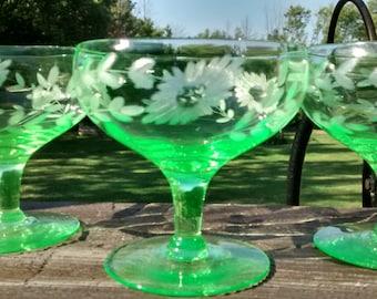 Vintage Set of 3 Green Vaseline Glass Etched Dessert Glasses Sherbet Footed
