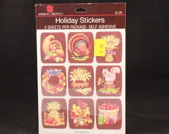 Vintage American Greetings 4 Sheet Thanksgiving Stickers. Sealed