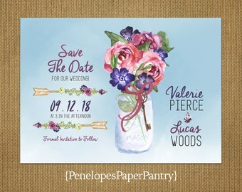 Rustic Summer Wedding Save The Date Cards,Mason Jar,Pink Roses,Wildflower Bouquet,Arrows,Watercolor Blue,Customizable With White Envelopes