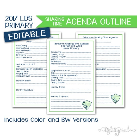 sharing time agenda lds primary 2017 theme editable