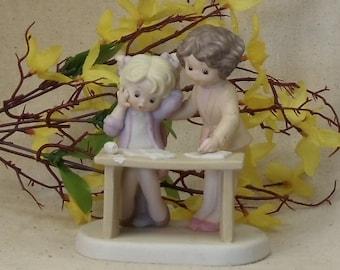 "Vintage Enesco ""Sisters & Best Friends"" Porcelain Figurine, 2 Girls at Table Studying,1982, #VB7100"