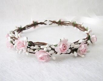 Wedding Floral Crown, Light Pink Flower Headband, Floral Head Wreath, Wedding Headband, Bridesmaid Flower Crown, Flower Girls Flower Crown