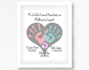 Mothers Day Gift from Children, Gift for Mummy, Personalised Print for Mum, Handprint Art, Personalised Gift for Mum, Unique Gift for Her,