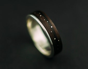 Makassar ebony bentwood ring, ebony wood ring lined with sterling silver