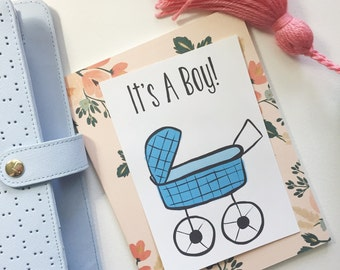 "Blue ""It's A Boy"" postcard"