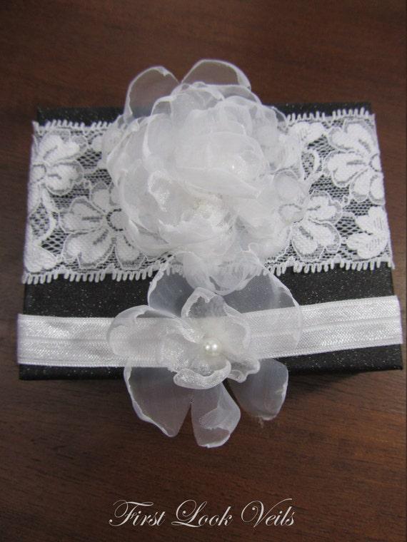 Wedding Garter set, Glass Pearls Accent