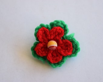 Red and Green Crochet Remembrance Poppy Pin