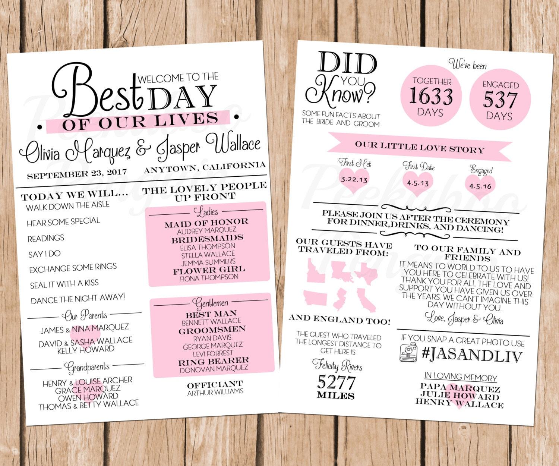 Fun wedding programs   Etsy