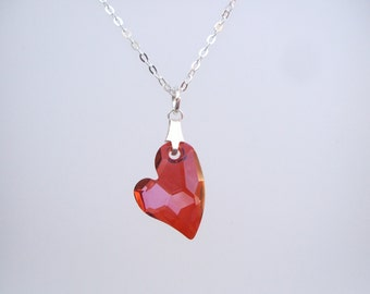 Sterling Silver Red Swarovski crystal heart necklace dainty Magma Swarovski necklace unique Mothers Day gif red Swarovski heart jewelry gift