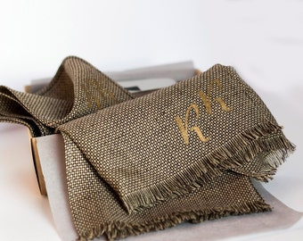 Personalised gift for him - Pocket square and linen scarf for men classic style - brown brick micro pattern
