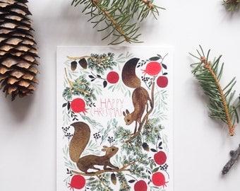 Christmas card, christmas greting card with squirells, squirells greeting card, woodland greeting card