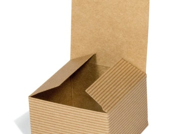 Pack of 25 boxes 3x3x2 Eco Friendly Kraft Paper Stripe Brown Gift Box, Natural, Wedding Favour Jewellery, Recyclable, Lid 7.5cmx7.5cmx5cm