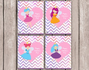 Fairy Valentine Cards- Girl Valentine Cards- Kids Valentine Cards- DIY PRINTABLE Valentine Cards- Valentine Cards