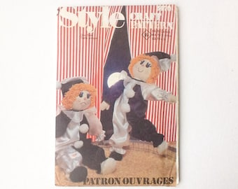 Vintage Clown Doll Sewing Pattern, Style Craft Pattern 3470, Happy or Sad Rag Doll Clown, UNCUT, 1981, 00812