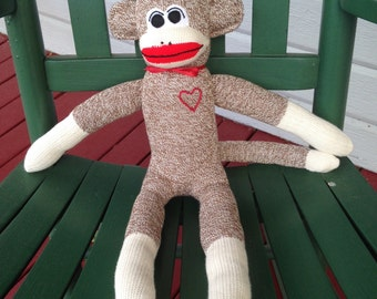 Sock Monkey with heart, Sock Monkey, Handmade Toys, Sock Monkey Doll, Sock Monkey Gifts, Children's Toys, Baby Toys