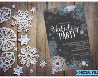 Custom Christmas Party Invitation, Printable Christmas Invitation, Any Size, Holiday Party Invitation, DIY Holiday Printable Digital File