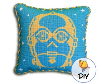 Star Wars Needlepoint Kit, C3PO Needlepoint Canvas or Kit, Star Wars Bedroom, Diy 10x10 design, Modern Tapestry Kit, Star Wars Decor,