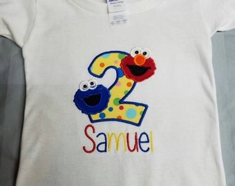 Sesame street birthday shirt - elmo- cookie monster