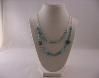 Peace, Love, & Butterflies turquoise double stranded necklace