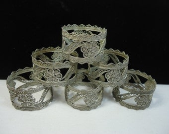 Antique Filigree Silver Wire Napkin Rings Set of Six Delicate & Dainty Ornate