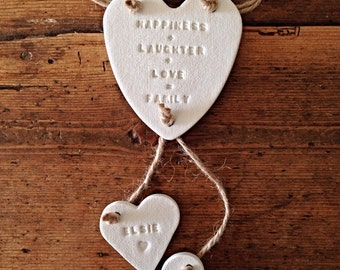 Family garland with little hearts ~ nursery decoration ~ nursery decor ~ new baby gift or Mother's Day gift