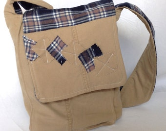 One-of-a-kind tan and blue upcycled messenger bag