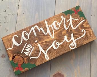Comfort and Joy Holiday Christmas Decor Wood Sign