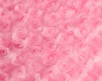 "Swirl Rose Bud Fluff Minky Fur Fabric - Sold By The Yard - 58""/ 60"" - Pink"