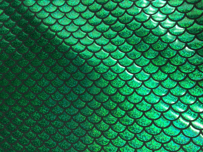 Green Mermaid Scale 4 Way Stretch Hologram Spandex Fabric