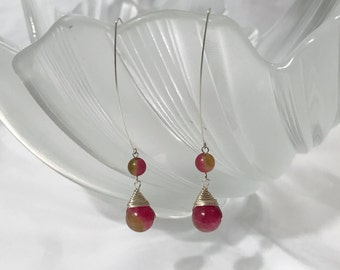 SALE--Red Chalcedony gem stone dangling earrings hand wrapping with silver wire