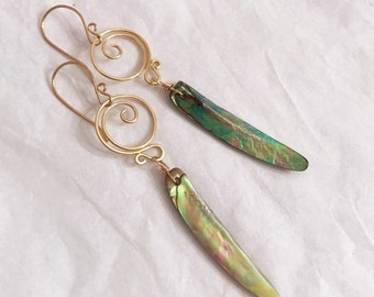 Delicately handmade dangling natural abalone shells earrings with gold wire