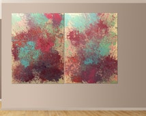 Dual Canvas Abstract Painting, original multicolor light and bright Painting on 36x48 inch Canvas Contemporary Modern Art