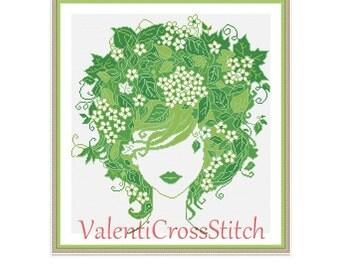 Lady Spring Cross Stitch Pattern, Modern Cross Stitch, Pattern, Chart, Spring, Green, sp-182