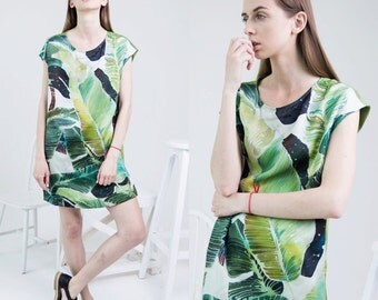 Hand painted silk dress, banana leaf print, green dress, bright print dress, casual elegant tunic
