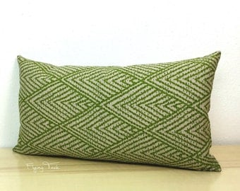 "Lime Green Chevron Ikat Pillow cover with 12"" x 22"" Down Insert - Same fabric both sides - Green on Oatmeal"