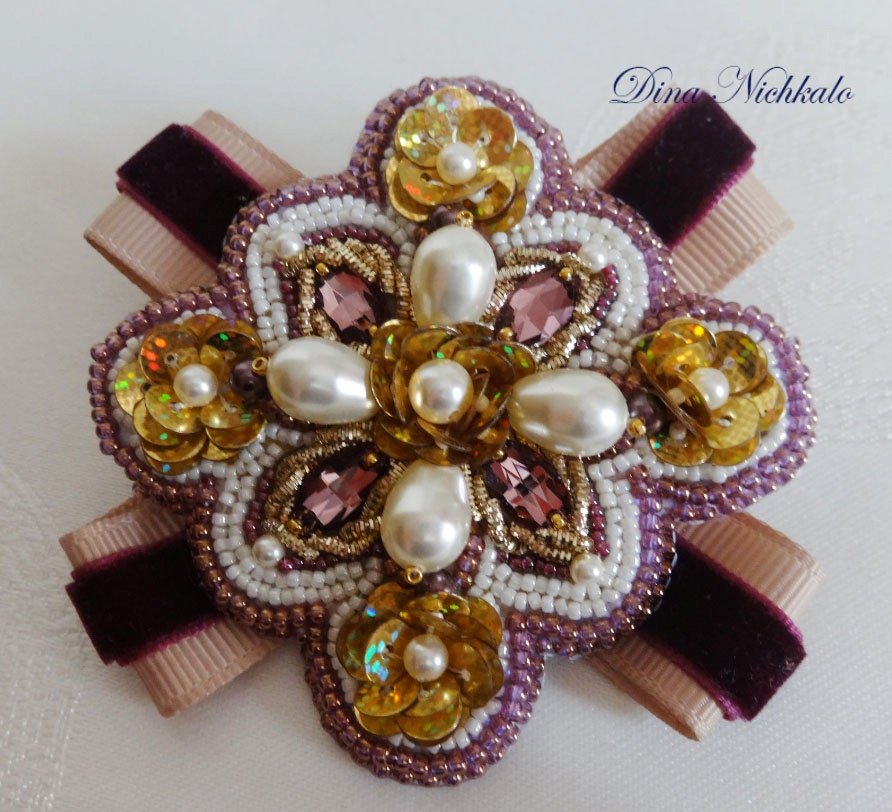 Embroidered Beads: Lilac Brooch Bead Embroidery Brooch Beaded Brooch Beadwork