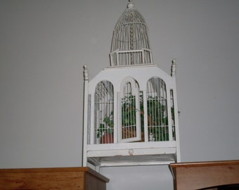 Vintage French Chippy Cottage Chic Bird Cage
