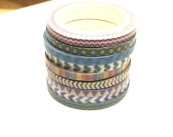 set of 9 rolls of 3 mm x 5 m washi tape