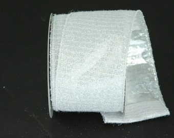 "2.5""x 10 yds Platinum Fuzzy Wired Edge Ribbon/Wreath Supplies/Holiday Ribbon/17308"