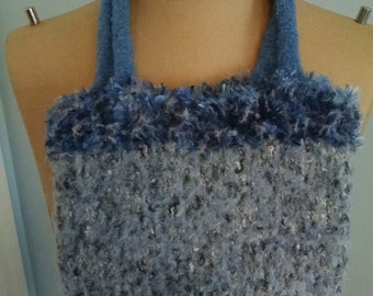 Small Blue Felted Wool purse bag handbag crochet knit